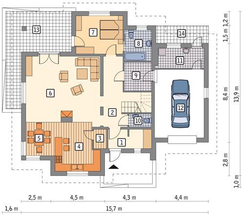 Rzut parteru POW. 129,0 m²
