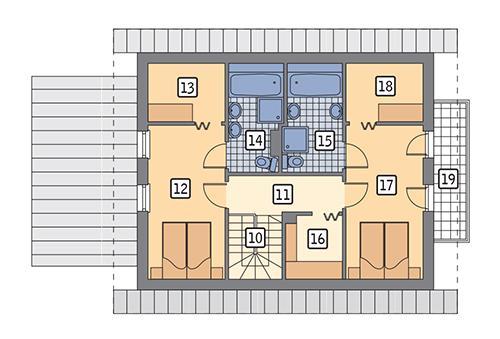 Rzut poddasza: wariant 5 POW. 67,9 m²
