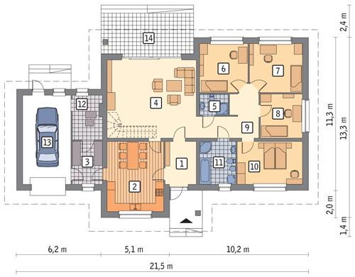 Rzut parteru POW. 177,6 m²