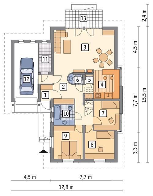 Rzut parteru POW. 127,0 m²