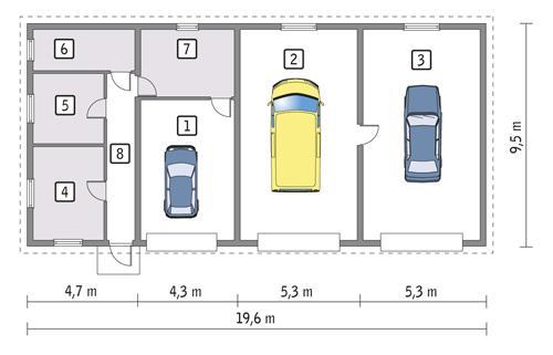 Rzut parteru POW. 160,8 m²