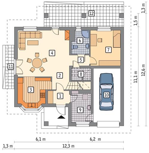 Rzut parteru POW. 94,3 m²