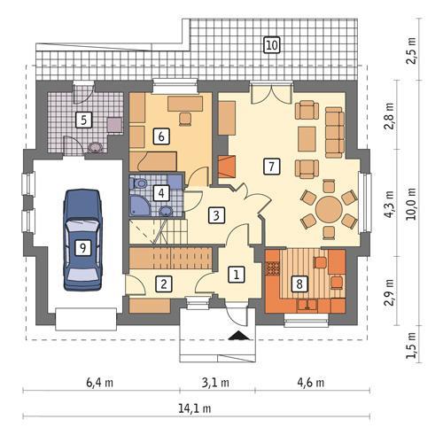Rzut parteru POW. 97,7 m²