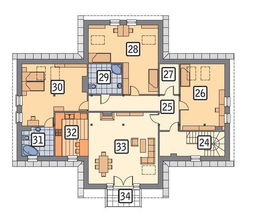 Rzut poddasza POW. 177,3 m²
