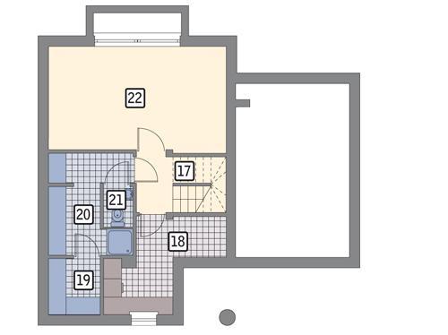 Rzut piwnicy POW. 47,6 m²