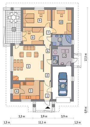 RZUT PARTERU POW. 107,6 m²